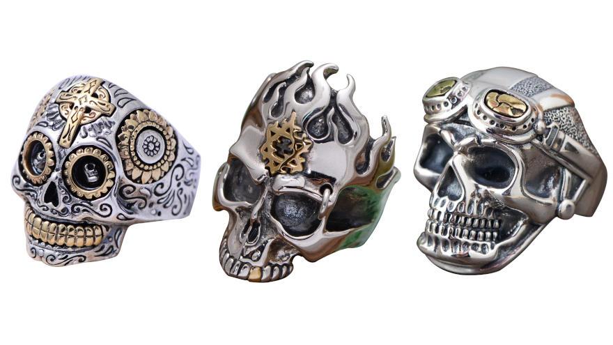 anillos de calaveras de plata