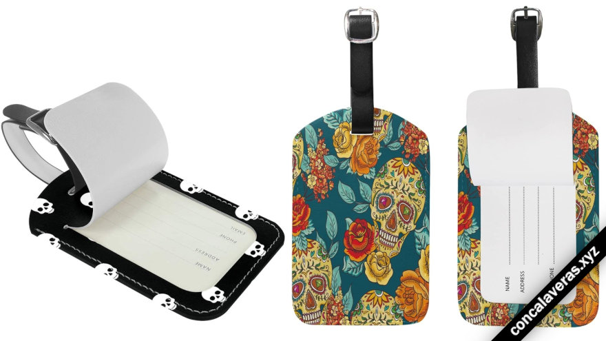 etiquetas de viaje para maleta con calaveras